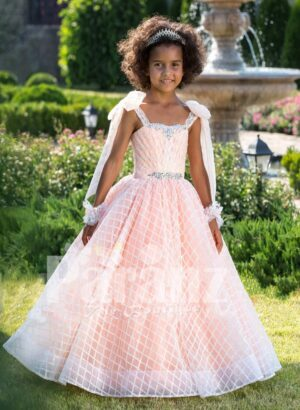 Peach pink unique sleeveless baby gown with flared tulle skirt and sheer overskirt