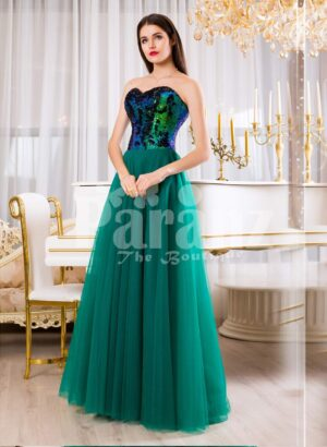 Peacock color off-shoulder bodice glam evening gown with long green tulle skirt for Women