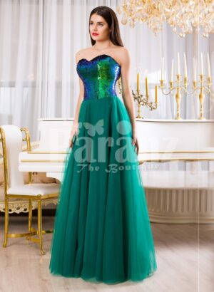 Peacock color off-shoulder bodice glam evening gown with long green tulle skirt for womens