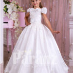 Pearl white flared and floor length satin-tulle skirt dress with rhinestone-thread work bodice
