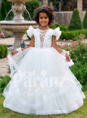 Pearl white floor length multi-layer tulle skirt baby gown with elite floral work bodice