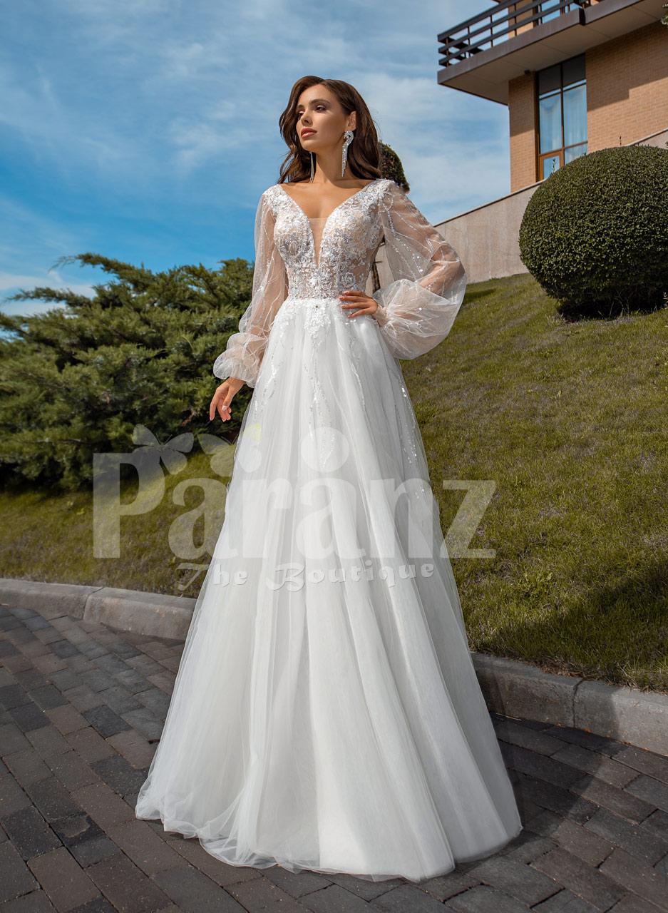 Pearl White Glam Tulle Wedding Gown With Royal Bodice And Sleeves