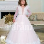 Powder pink floor length baby gown dress with full sheer sleeves and ruffle-feather bodice