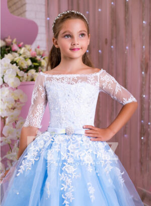 Princess Style flared tulle skirt sky blue gown with pearl white off-shoulder bodice for girls