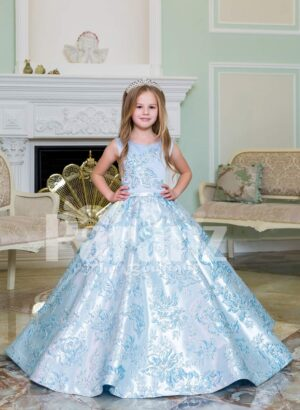 Rich satin shiny floor length baby gown with all over same hue floral appliqués in blue