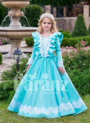 Rich satin sky blue baby gown with full sleeve and floor length tulle skirt underneath