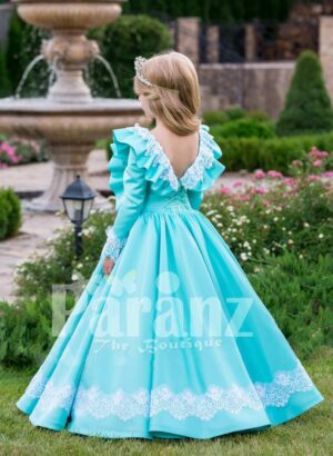 Rich satin sky blue baby gown with full sleeve and floor length tulle skirt underneath back side view