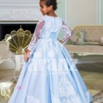 Rich satin super shiny flared pleated tulle underneath skirt baby gown in metallic sky blue back side view