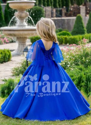 Royal blue-silver bodice sheer frilly sleeve floor length party gown with flared tulle skirt back side view