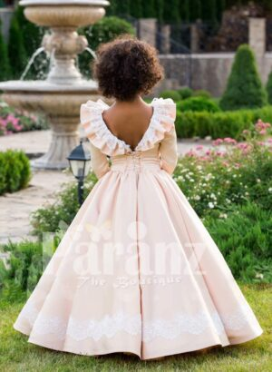 Sailor frill lacework bodice royal summer floor-length baby party gown back side view