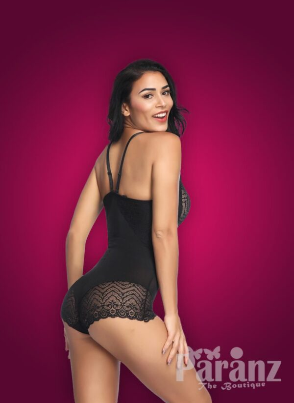 Semi-open bust style lace work buckle attach strappy sleeve body shaper new black side view