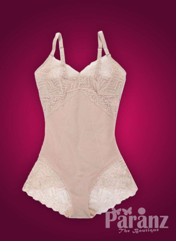Semi-open bust style lace work buckle attach strappy sleeve body shaper new raw (1)