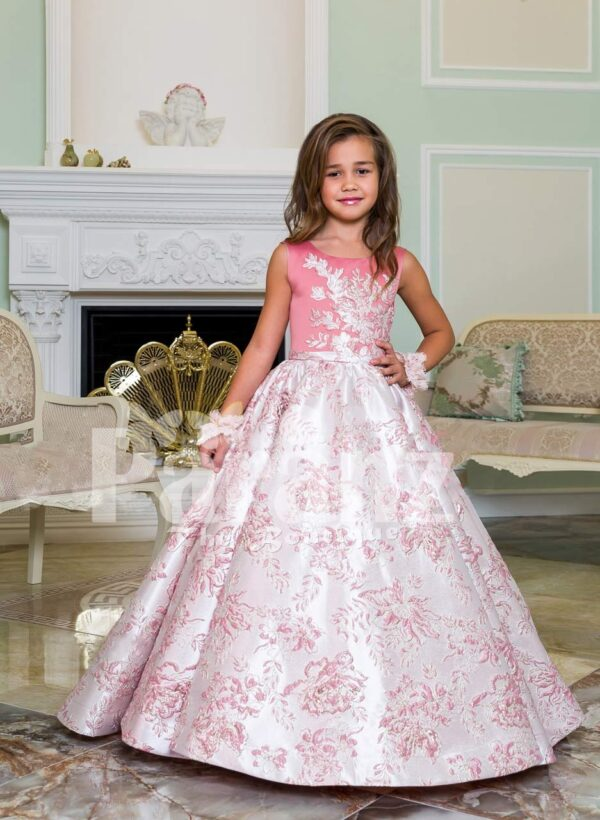 Silver work pink bodice elegant baby gown with flared & high volume tulle underneath skirt