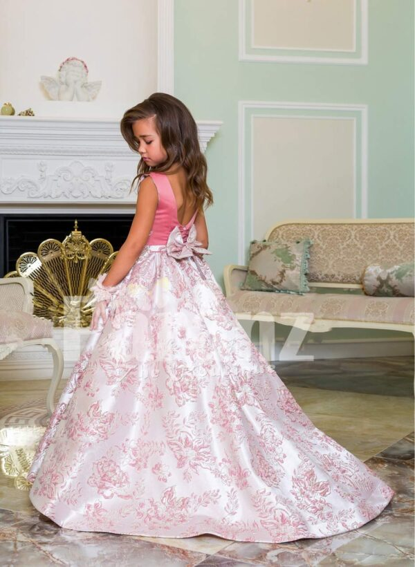 Silver work pink bodice elegant baby gown with flared & high volume tulle underneath skirt side view