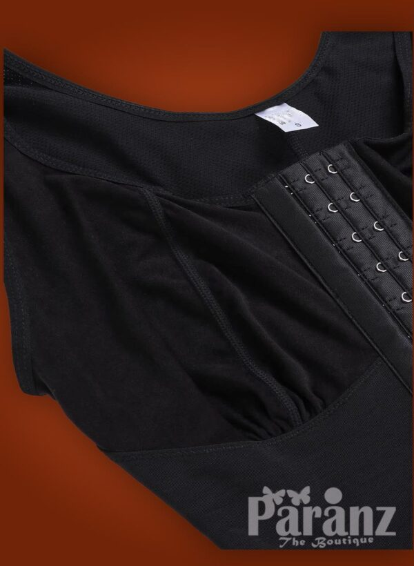 Sleeveless 3 rows front hook closure full body shaper for women raw view (4)