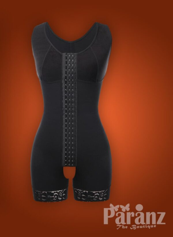 Sleeveless 3 rows front hook closure full body shaper for women raw view (6)