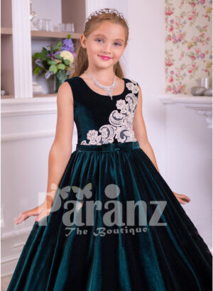 Sleeveless floor length tulle skirt velvet dress with major white lace work