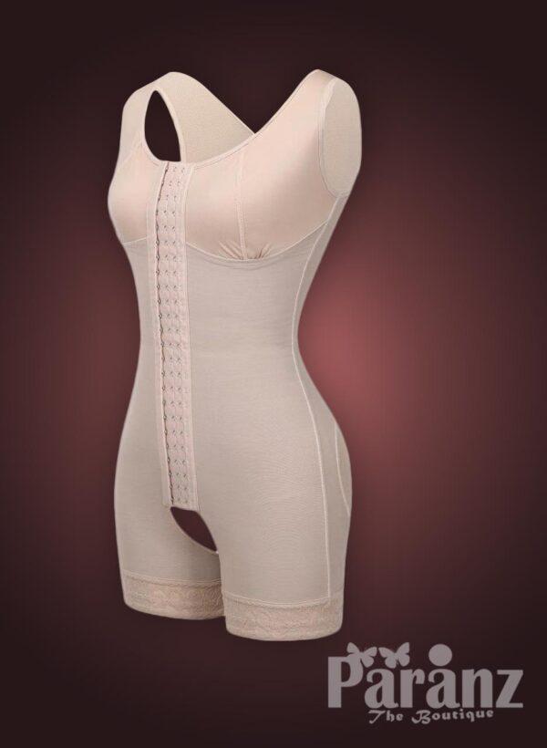 Sleeveless front hook closure custom fit tummy slimming body shaper Raw view (3)