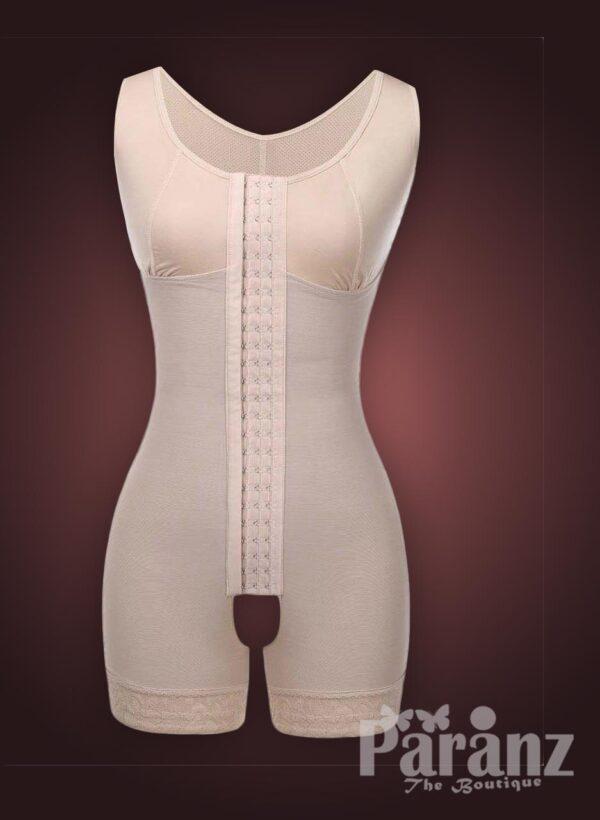 Sleeveless front hook closure custom fit tummy slimming body shaper Raw view (4)