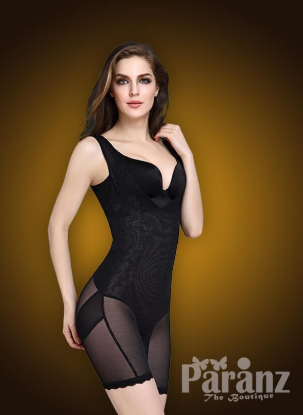 Soft and elasticized fabric sleeveless open-bust style underwear body shaper new side view