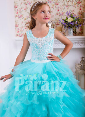 Soft and elegant floor length cloud tulle skirt gown with lacework rich bodice