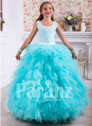 Soft and elegant floor length cloud tulle skirt gown with lacework rich bodice for girls