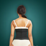Soft and stretchable waist slimming hourglass shape creating waist cincher back side view