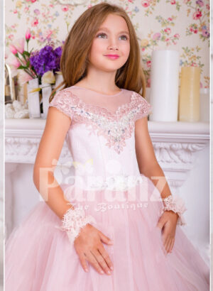 Soft creamy pink flared and high volume tulle skirt dress with pink floral work white bodice for girls