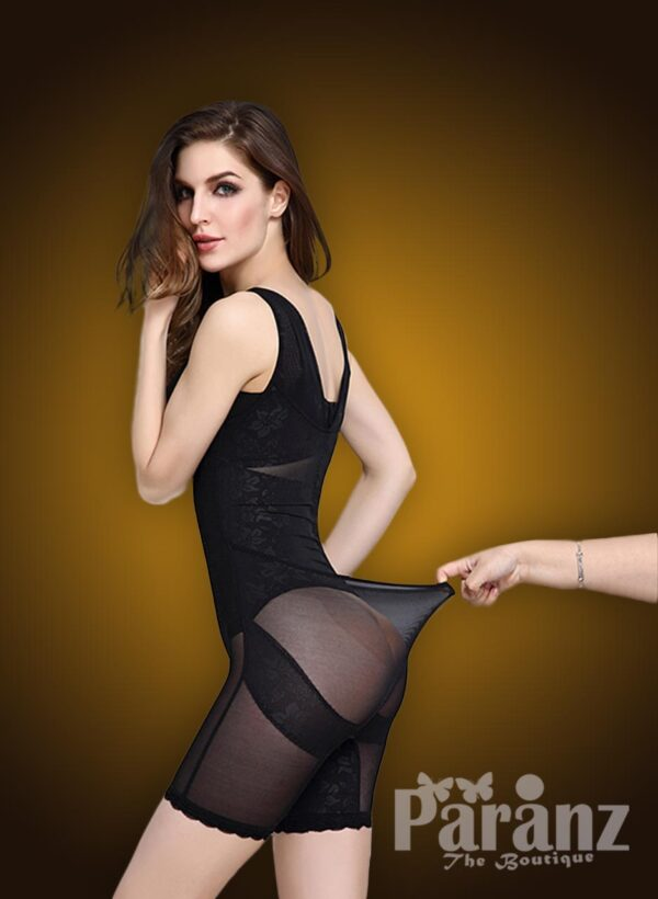 Soft & elasticized fabric sleeveless open-bust style underwear body shaper new back side view
