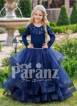 Soft navy floor length baby party gown with multi-layer elegant tulle skirt