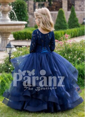 Soft navy floor length baby party gown with multi-layer elegant tulle skirt back side view