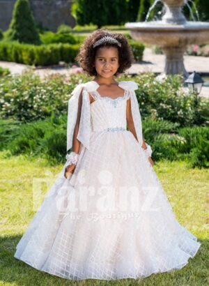 Soft pink-white sleeveless flared tulle skirt baby gown with rhinestone work neckline