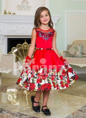 Soft red tea length rich satin party dress for girls with tulle skirt