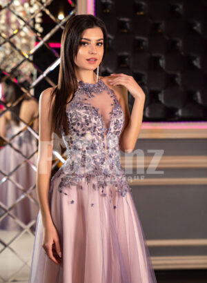 Super stylish and elegant off-shoulder evening party gown with side slit tulle skirt