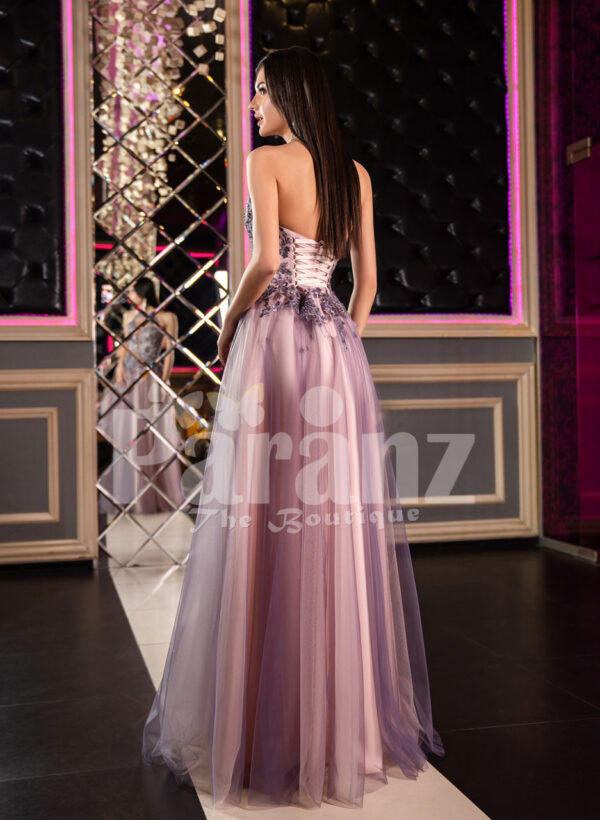 Super stylish and elegant off-shoulder evening party gown with side slit tulle skirt Back side view