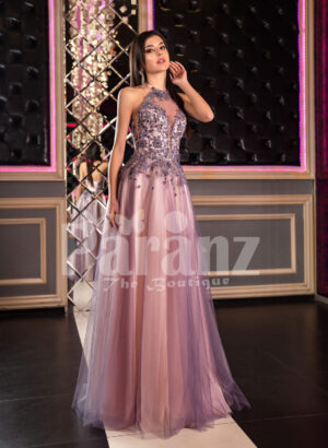 Super stylish & elegant off-shoulder evening party gown with side slit tulle skirt