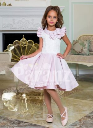 Tea length rich satin party dress for girls with white lace work bodice and frilly sleeves
