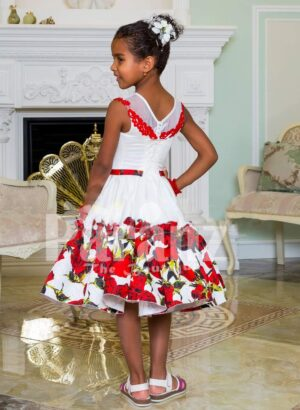 Tea length rich white satin party dress with red rosette print for girls back side view