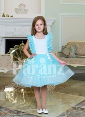 Tea-length sky blue soft and lightweight tulle skirt party dress for girls