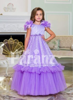 Two layer soft floor length tulle skirt party baby gown with all over self-floral work bodice