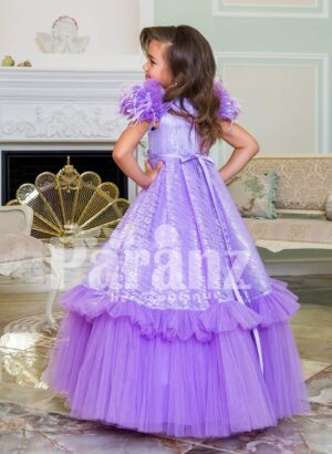 Two layer soft floor length tulle skirt party baby gown with all over self-floral work bodices