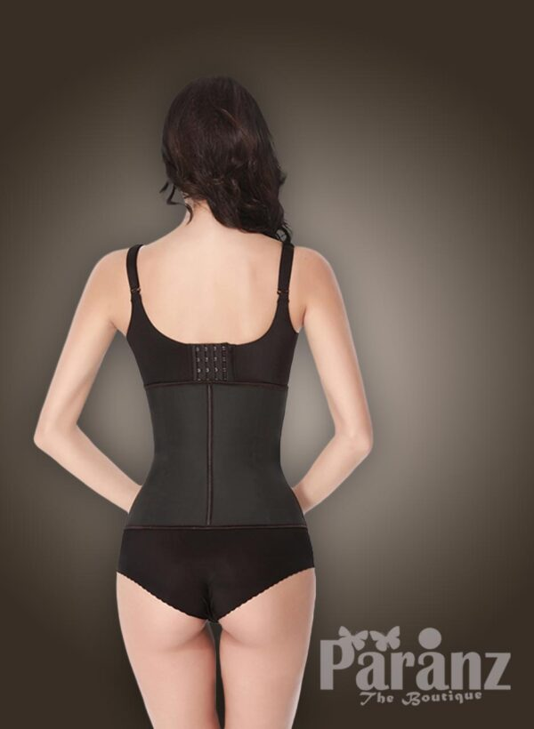 Two layer tummy slimming front hook closure body shaper in Black new back side view