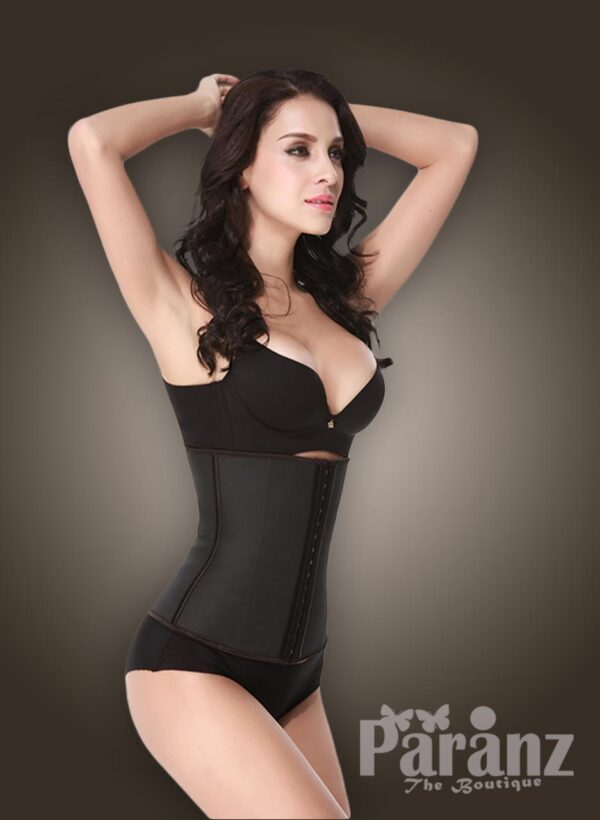Two layer tummy slimming front hook closure body shaper in Black new side view