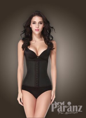 Two layer tummy slimming front hook closure body shaper in Black new views for Women