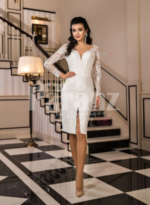 Women's A-line pearl white knee length rich satin wedding dress with lace sleeves