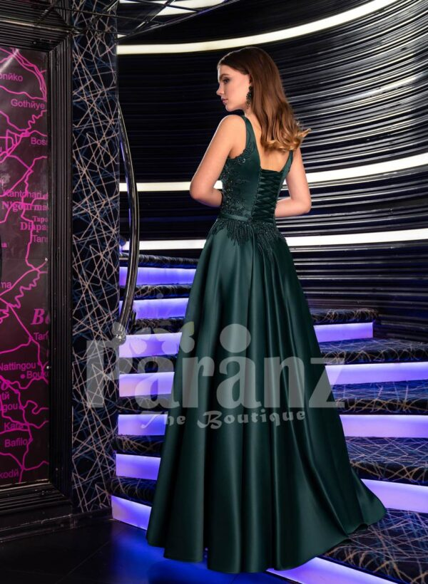 Women's Super Pigmented Green Smooth Satin Evening Gown with Sleeveless Glitz Bodice back side view