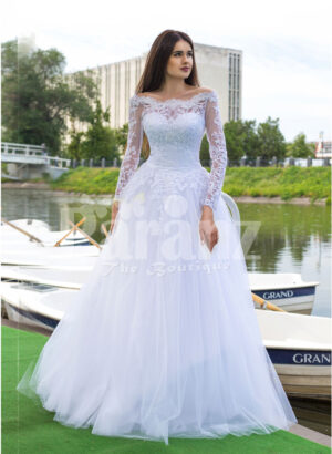 Women's all white elegant wedding tulle skirt gown with royal bodice and full sleeves