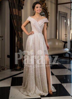 Women's amazing side slit off-shoulder beige glitz wedding gown