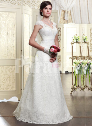 Women's beautiful floor length wedding satin gown with major white lace work