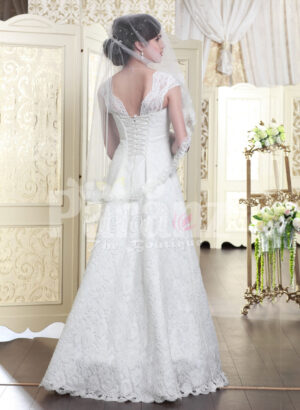 Women's beautiful floor length wedding satin gown with major white lace work back side view